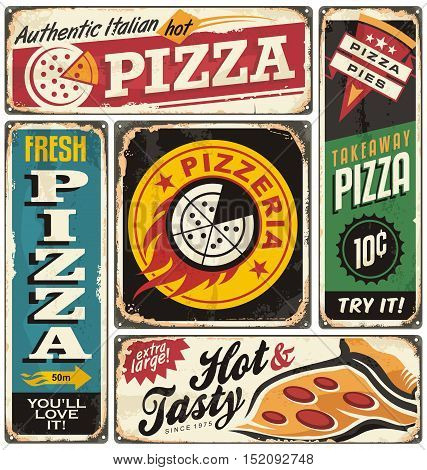 Pizza retro signs collection on tin damaged background