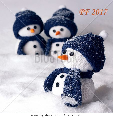 Happy new year PF 2016 with three handmade snowmen - color white and blue