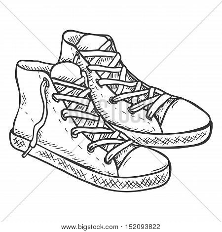 Vector Sketch Illustration - Pair Of High Casual Gumshoes