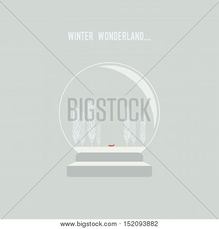 Snow globe with christmas winter landscape vector background. Fox walking in frozen wonderland. Eps10 vector illustration.