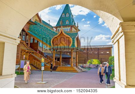 MOSCOW RUSSIA - MAY 10 2015: The view on porch of the Grand Palace of Tsar Alexei Mikhailovich through the arched pass Kolomenskoye Manor on May 10 in Moscow.