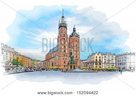 The town square in Krakow & Church of St. Mary. Poland. Color illustration