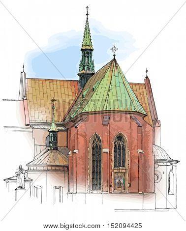 Poland. Krakow. Church. Color illustration