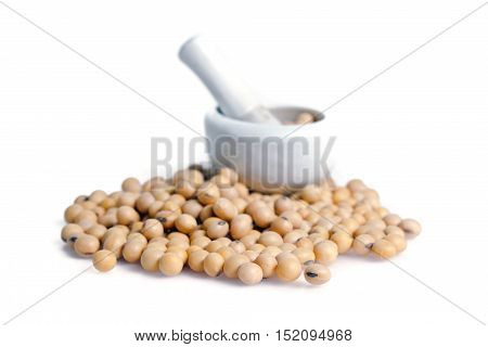 Soybean Or Soy Bean Isolated On White Background