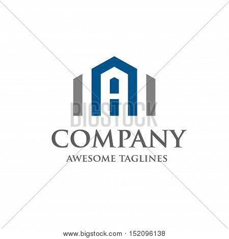 Letter A Real Estate Logo Design. Creative abstract real estate icon with letter A logo vector
