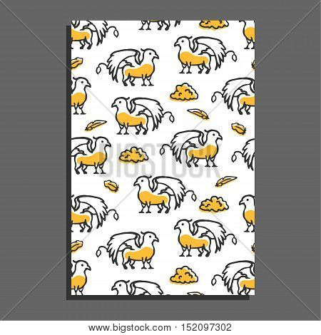 Greeting card with griffin and clouds. Cute little cartoon mythical beast. Yellow griffin with clouds and feathers