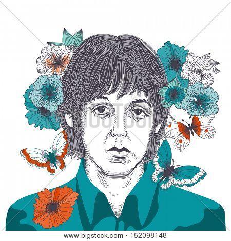 OCTOBER 17 2016: Vector Illustration of James Paul McCartney, eps10, vector