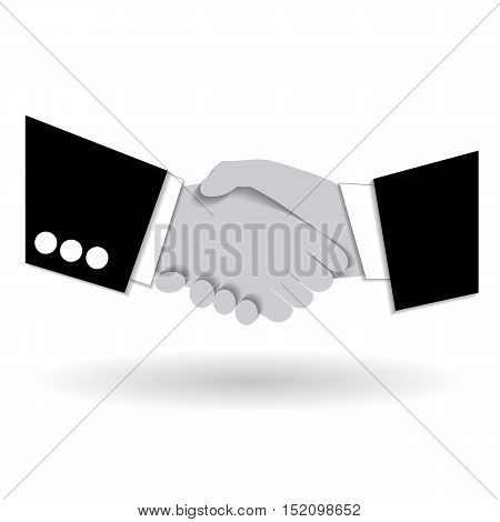 Agreement handshake business concept. Two businessmen shaking each other hands. Concept of deal benefit common ground contract. Vector illustration. Use as template logo background.