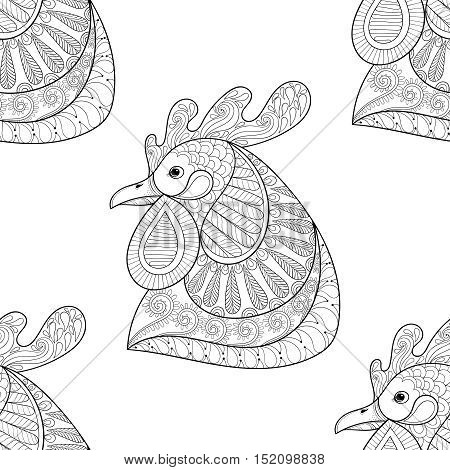 Zentangle Cartoon rooster seamless pattern. Hand drawn sketch for adult coloring page, t-shirt print, fabric. Xmas decorative elements. Vector illustration for New Year 2017 greeting cards, posters.