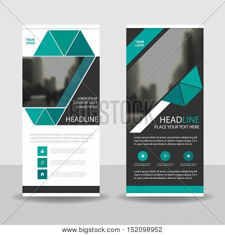 Green black triangle roll up business brochure flyer banner design cover presentation abstract geometric background modern publication x-banner and flag-banner layout in rectangle size.