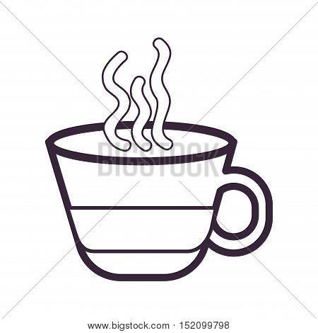 hot coffee mug caffeine drink over white background. vector illustration
