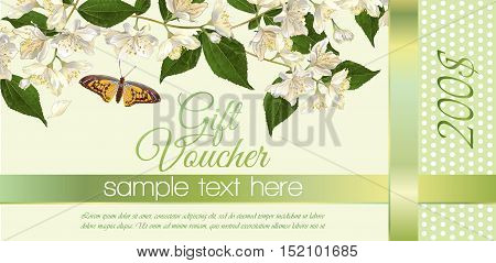 Vector natural cosmetics gift voucher with flowers. Design for cosmetics store beauty salon natural and organic products health care products aromatherapy. With place for text