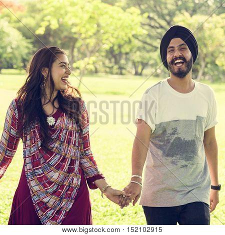 Couple Indian Ethnicity Park Companionship Concept