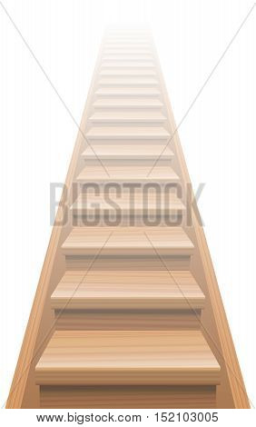 Wooden stairway to heaven. Isolated vector illustration on white background.