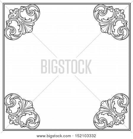Black frame, vintage frame, baroque frame, scroll frame, ornamental frame, engraving frame, antique frame, acanthus frame, foliage frame, swirl decorative frame. vector