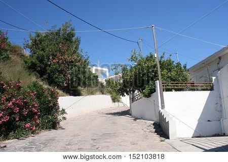 Empty streen in small greek village in Rodos