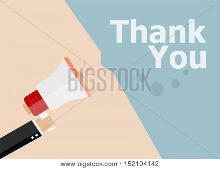 Flat Design Business Illustration Concept. Thank You Digital Marketing Business Man Holding Megaphon