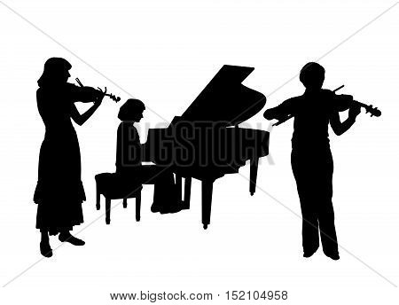 Concerto for two violins and piano. Isolated white background. EPS file available.