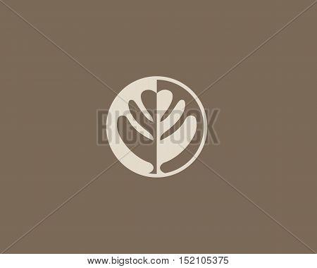 Negative space leaf shape. Circle tree logo design. Ecology universal icon. Nature product logotype.