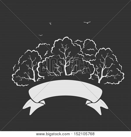 Emblem Trees and Ribbon Vector Illustration eps 8 file format