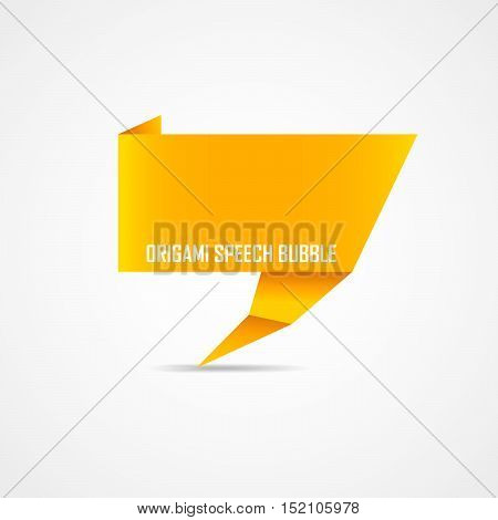 Abstract orange origami speech bubble. Vector illustration. Origami speech bubble isolated on white background.