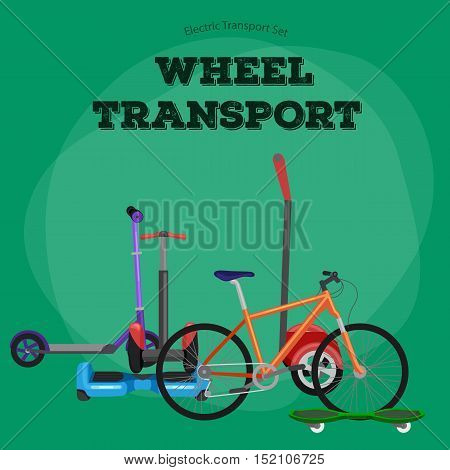 Set of one-wheeled and two-wheeled Self-balancing electric scooter vector illustrations vector