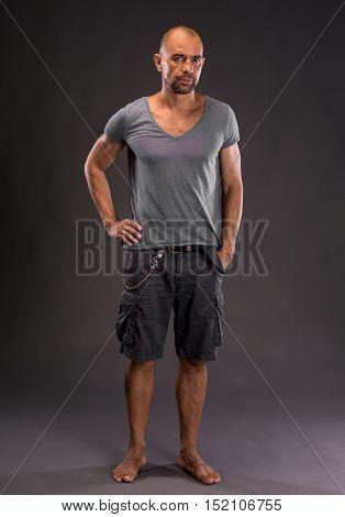 Bald Barefoot Handsome Man