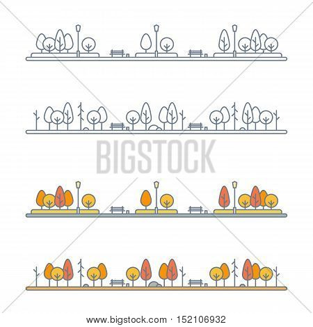 autumn park landscape with yellow orange and red trees. city park or alley with bright foliage trees. flat outline style. isolated on white background. vector illustration