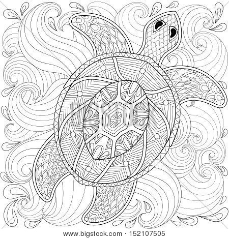 Turtle in ocean waves, zentangle style. Freehand sketch for adult coloring page, doodle elements. Ornamental artistic vector illustration for tattoo, t-shirt print. Sea animal collection.