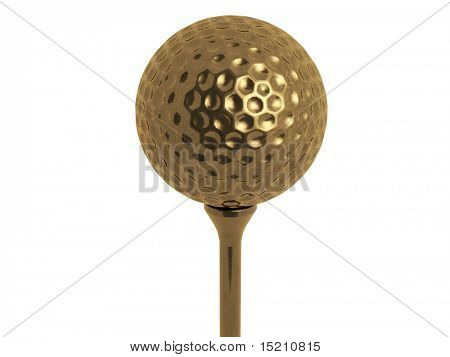 gold golf ball on tee isolated on white