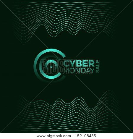 Cyber Monday Promotional Poster. 3D Illuminated Distorted Shape Of Glowing Particles And Wireframe.