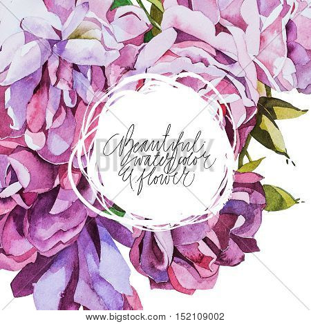 Watercolor abstrackt flower background whith place for your text