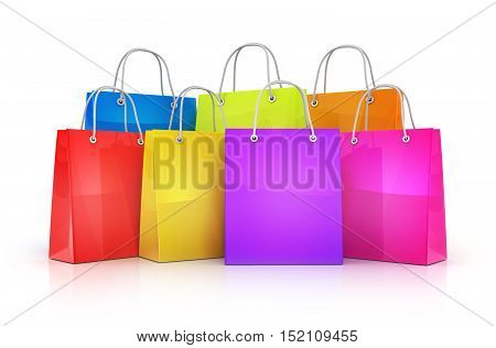Many shopping bag (done in 3d rendering)