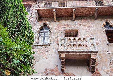 View of the legendary balcony and Juliet's house in Verona Italy.