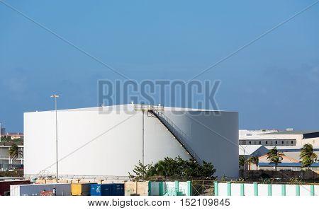 A White Fuel Storage Tank in Aruba