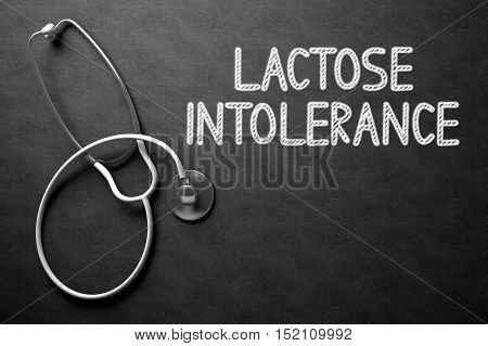 Medical Concept: Black Chalkboard with Lactose Intolerance. Black Chalkboard with Lactose Intolerance - Medical Concept. 3D Rendering.