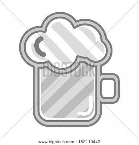 beer mug with foam over white background. liquor drink design. vector illustration