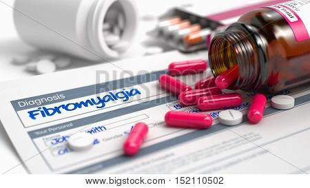 Fibromyalgia - Handwritten Diagnosis in the Anamnesis. Medical Concept with Heap of Pills, Close View, Selective Focus. 3D Render.
