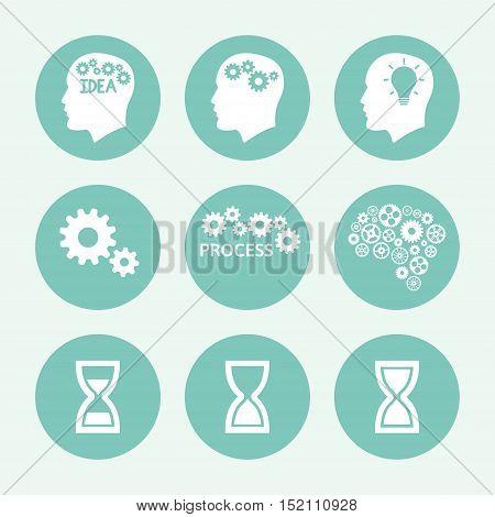 Processes blue icon set, flat design. Vector illustration