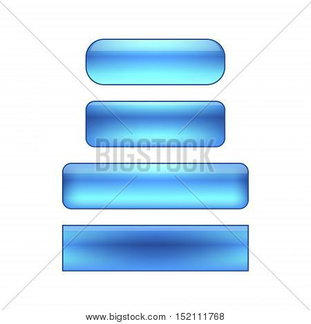 vector isolated blank web buttons set - blue