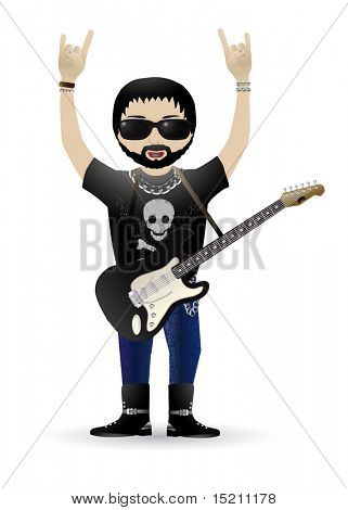 vektorové rockové hudební kytarista