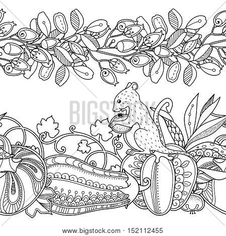 Vector Set Seamless Garden Borders In Doodle Style Floral Ornate Decorative Tribal
