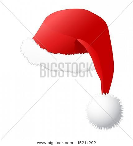 vector santa hat isolated on white