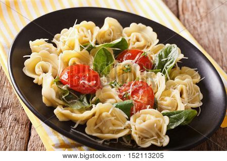 Italian Tortellini With Spinach And Parmesan Close-up. Horizontal