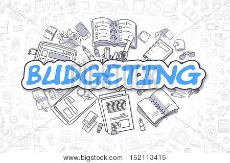 Business Illustration of Budgeting. Doodle Blue Inscription Hand Drawn Cartoon Design Elements. Budgeting Concept.