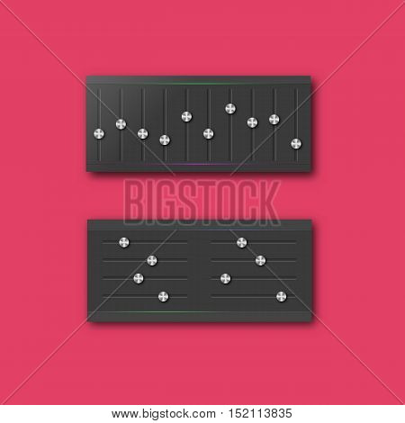 Graphic equalizer with a set of sliders and stylish steel buttons. Design web interface elements vector illustration.