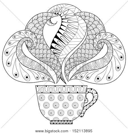 Zentangle stylized Сup of tea with steam, hot beverage with artistically doodle elements. Ethnic ornamental vector illustration for tattoo, t-shirt print, adult coloring pages, greating card.