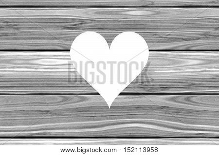Heart cut out of grey wooden planks horizontal rustic rural homely background image