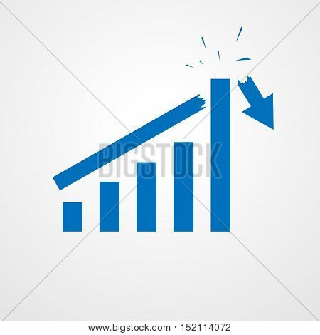 Growing bar graph icon with rising arrow. Financial forecast graph. Blue graph icon. Vector illustration.