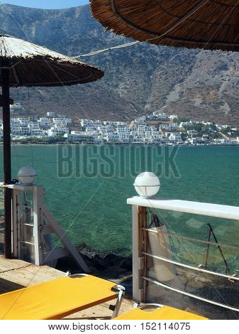 Sifnos Greece port town of Kamares on Greek Cyclades island in Mediterranean Sea